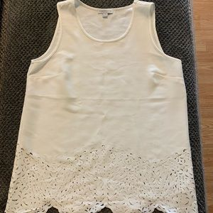 Katherine Barclay sleeveless white cutout top